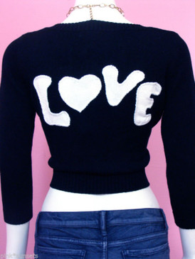 Betsey Johnson Love Heart Cropped Cardigan Intarsia Sweater Black  White