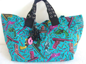 Betsey Johnson LARGE Betsey Bond Guns Bullets Lips Aqua Pink Green Blue Tote BAG