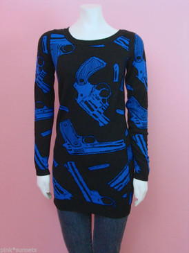 Betsey johnson Goth Guns Knit Tunic Sweater Black Blue Guns Vintage Top