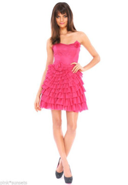 Betsey Johnson Infinity Rose Strapless Pink Dress
