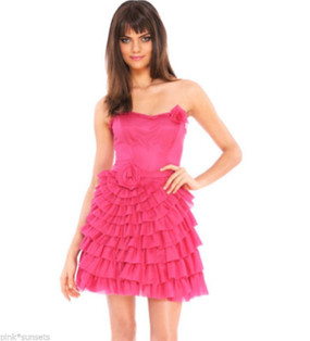 Betsey Johnson Infinity Rose Strapless Pink Dress 2