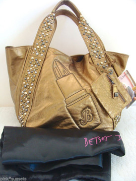 Betsey Johnson Metalicize Me Lipstick Bronze Leather Tote Bag Coin Wallet Set