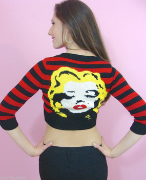 Betsey Johnson Marilyn Red Striped Face Sequin Cropped Cardigan Runway Sweater