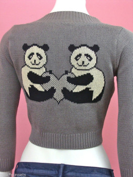 Betsey Johnson Panda Heart Intarsia Animal Gray Cardigan Sweater