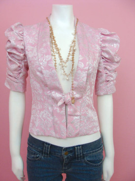 Betsey Johnson Metallic Ruched Sleeve Jacket Pink Silver Tie Front Brocade Top