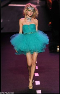 betsey johnson POW POOF STRAPLESS Green DRESS COCKTAIL PROM PARTY