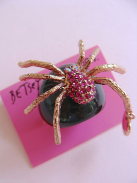 Betsey Johnson Pink Pave Crystal Spider Black Band Ring