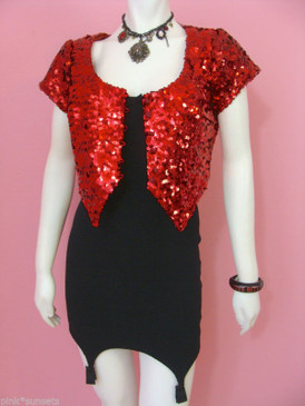 Betsey Johnson Medal Of Honor Sequin Jacket or Top Red Black Sequins Vintage