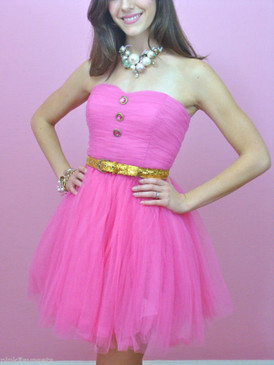 betsey johnson Pow Poof Strapless Pink Dress Cocktail Party Prom