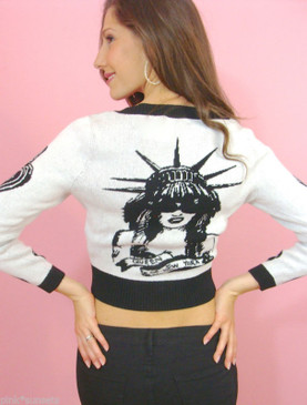 Betsey Johnson Queen of NY Cardigan Sweater White Face Wink Liberty Bolt Heart
