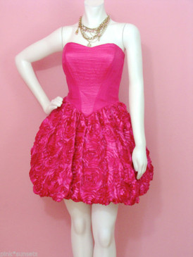 Betsey Johnson Rose Topiary Strapless Pink Dress