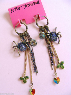 Betsey Johnson Purple Spider Dark Forest Pave Multi chain Drop Earrings