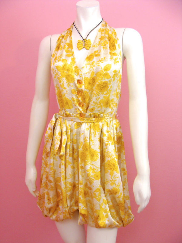 dc4815dd6a68 Betsey Johnson Skulls and Roses Yellow SILK Bubble Jumper Floral ...