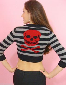 BETSEY JOHNSON Stripes and Red Skull Cropped Cardigan Sweater Black Gray