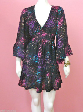Betsey Johnson SPLASH BURNOUT BAMBI TUNIC DRESS Snake Print Black Pink Purple