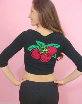 Betsey Johnson Red Cherry Intarsia Cropped Black Cardigan Sweater