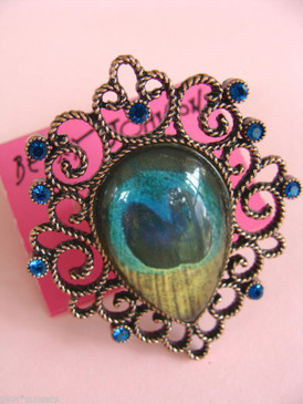 Betsey Johnson Vintage Peacock Feather Copper Ring Blue Crystal Cocktail