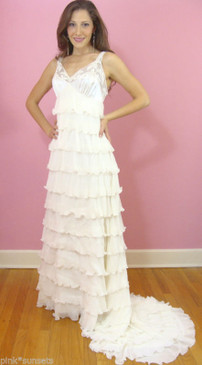 Betsey Johnson Wedding Gown White Dress Ruffles Train Runway Archive able