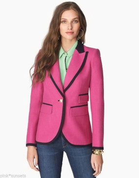 Juicy Couture Bright Wool Blazer Jacket Pink Black Trim Coat