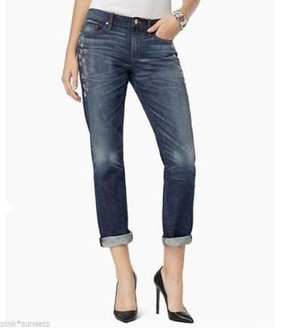 Juicy Couture Embellished bleeker slouchy straight Cropped  Jeans Pants