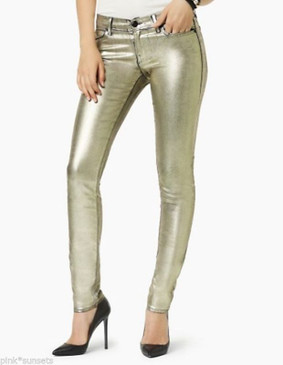 Juicy Couture Gold Pants Metallic  Foil Coated Skinny Jeans