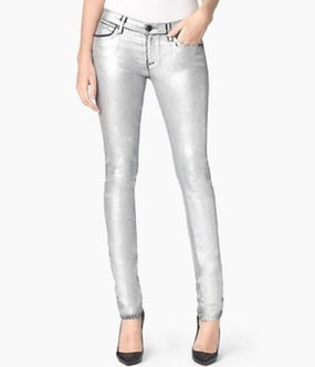 Juicy Couture Foil Coated Skinny Silver Pants Metallic Jeans