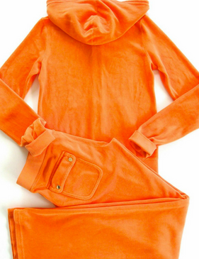 Juicy Couture Tracksuit J Bling Hoodie Pocket Pants Velour Tangerine Orange