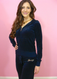 Juicy Couture Tracksuit Jacket Hoodie Starflower Velour Pant Navy Blue Regal