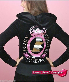 Juicy Couture Velour Track Crown Tracksuit Black Silver Dog Hoodie Jacket