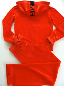Juicy Couture Track Couture Velour Hoodie Pocket Pants Tracksuit Red Firecracker