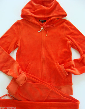 Juicy Couture Velour J Bling Hoodie Pocket Pant Tracksuit Red Firecracker