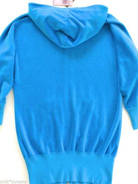 Juicy Couture Velour Dolman Sleeve Long Hoodie Tracksuit Jacket