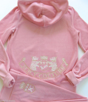 Juicy Couture Pink Tracksuit Old School Scotty Crest Velour Hoodie Pants