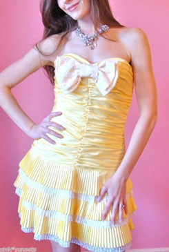 Betsey Johnson Evening Hot Tamale Shirred Yellow While Strapless Vintage