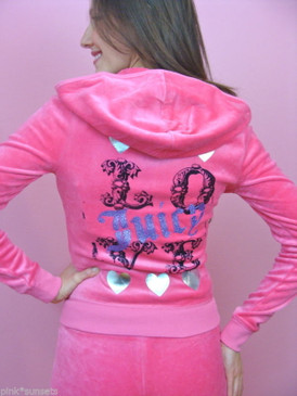 Juicy Couture Velour Tracksuit Love Heart Pink Track Hoodie jacket Pants