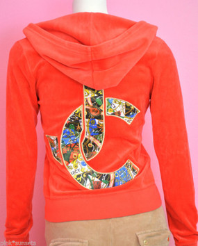 Juicy Couture Hoodie Jeweled JC Velour Tracksuit Jacket Track Top Red Ginger