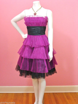 Betsey Johnson Pleated Organza Tiered Dress Raspberry Black Prom Party