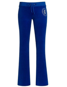 Juicy Couture Tiara Cameo Velour Tracksuit Track Pants Blue Lapis