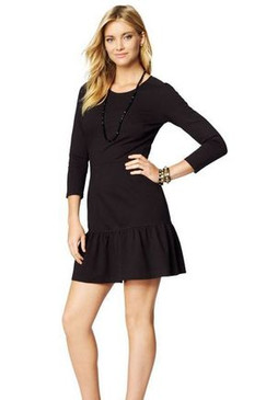 Juicy Couture Solid Ponte Ruffled Dress Little Black Zipper Dress
