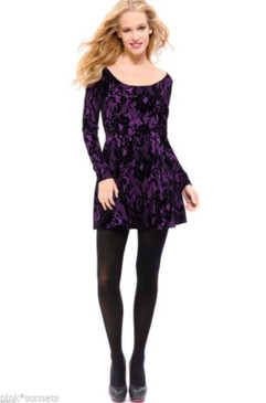 Betsey Johnson Flocked Frock Fit and Flare Purple Black Dress