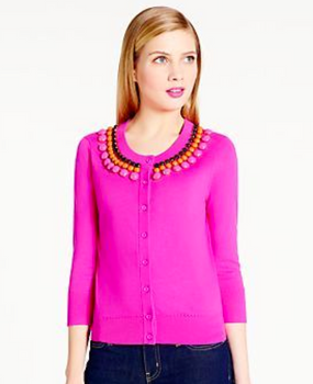 Kate Spade New York Rio Embellished Cardigan in Rio Pink