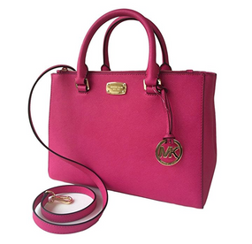 Michael Kors Kellen Medium Satchel Leather Handbag Bag Raspberry