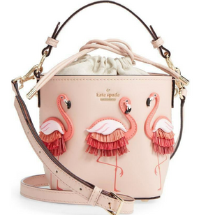 Kate Spade Flamingo Pippa Drawstring By the Pool Bucket Bag
