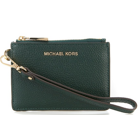 Michael Kors Green Small Coin Purse Mini Wallet Key Chain Bag
