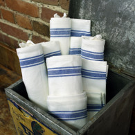 Retro Bold Twill Blue Striped Towel