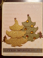 Card Kit - Gold and Green Trees