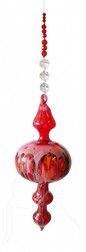 Hand Blown Bubble Beaded Hanging - Red