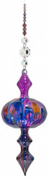 Hand Blown Bubble Beaded Hanging - Purple