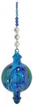 Hand Blown Bubble Beaded Hanging Blue