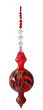 Hand Blown Bubble Beaded Hanging Red
